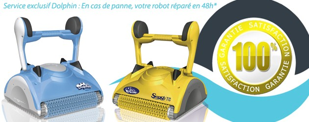 Robot piscine electrique Dolphin 2x2 PRO GYRO brosses bi-matiere - Dolphin, la garantie d'une satisfaction totale en cas de panne votre robot réparé en 48h*