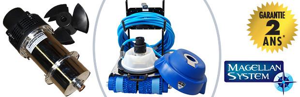 Robot piscine publique Hexagone CHRONO ECO 450 avec radiocommande et chariot - Robot piscine électrique professionnel Hexagone CHRONO ECO 450 innovation et évolution