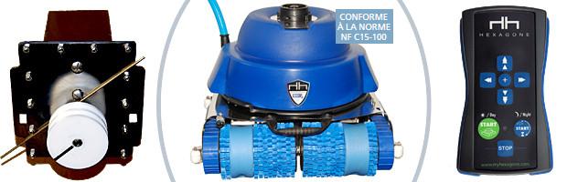 Robot piscine publique CHRONO ECO 510 avec radiocommande et chariot - Le robot piscine électrique professionnel Hexagone CHRONO ECO 510