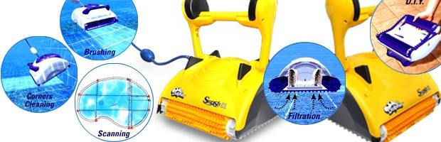 Robot piscine electrique Dolphin SWASH CL avec chariot - Robot nettoyeur électrique Dolphin SWASH CL, innovation et efficacité