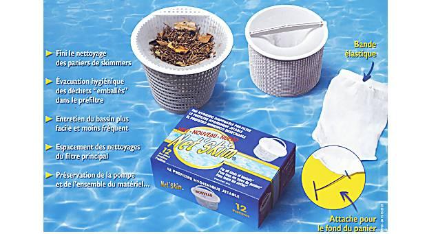 Boite de 12 sacs prefiltres jetables NET'SKIM pour skimmer piscine - Utilisation des sacs préfiltres jetables NET'SKIM pour skimmer