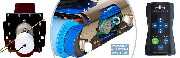 Robot piscine publique CHRONO ECO 730 avec radiocommande et chariot - Le robot piscine électrique professionnel Hexagone CHRONO ECO 730