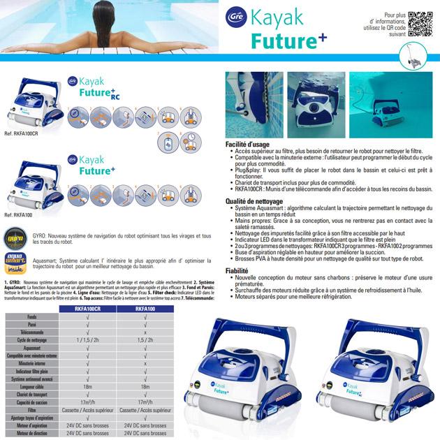 Robot piscine electrique Gre KAYAK FUTURE aspiration 17m3/h avec chariot - Robot piscine électrique Gré KAYAK FUTURE Pour avoir une longueur d'avance