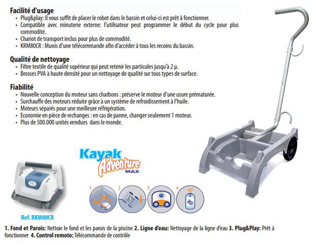 Robot piscine electrique Gre KAYAK ADVENTURE MAX pour piscine jusqu'a 80m² - Robot piscine électrique Gré KAYAK ADVENTURE MAX Fiabilité, rapidité et robustesse