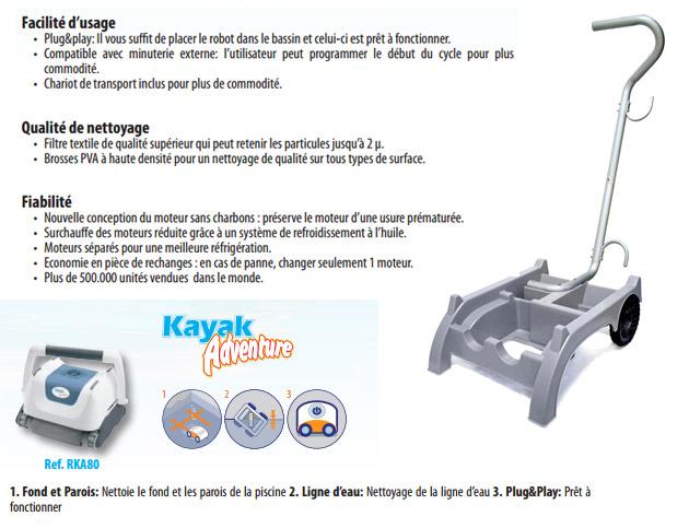Robot piscine electrique Gre KAYAK ADVENTURE pour piscine jusqu'a 80m² - Robot piscine électrique Gré KAYAK ADVENTURE Fiabilité, rapidité et robustesse