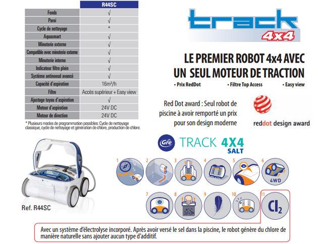 Robot piscine electrique Gre TRACK SALT 4X4 pour piscine jusqu'a 90m² - Gré TRACK SALT 4X4 Faites un bon dans le futur