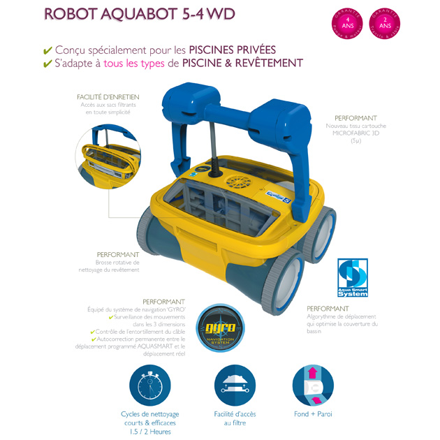 Robot piscine electrique Aquabot 5 GYRO 4WD pour piscine jusqu'a 80m² - Aquabot 5 GYRO 4WD  En avance sur son temps
