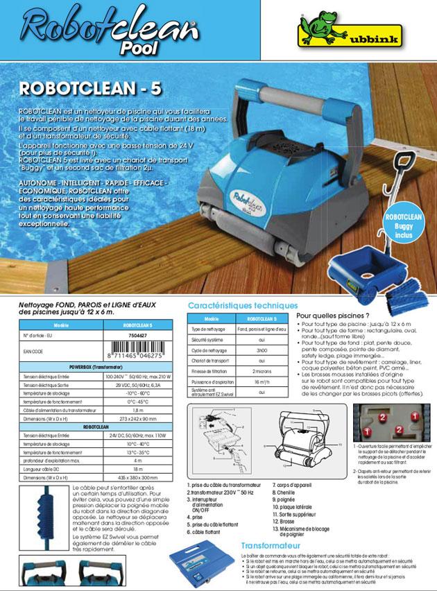 Robot piscine electrique Ubbink ROBOTCLEAN 5 avec chariot - Robot piscine électrique Ubbink ROBOTCLEAN 5 Simplicité et fiabilité