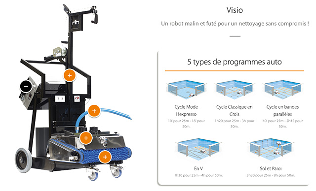 Robot piscine electrique Hexagone VISIO XL avec camera - Robot piscine électrique professionnel Hexagone VISIO XL intelligence artificielle